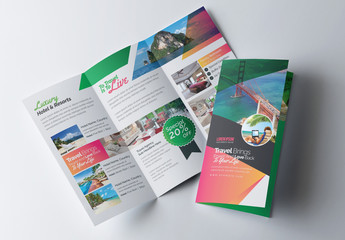 Green and Orange Trifold Brochure Layout
