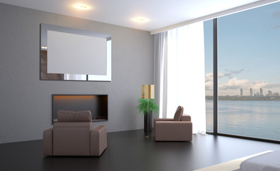 Modern bedroom design, Double bed. 3D rendering. Blank paintings