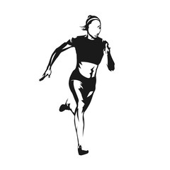 Running woman, isolated vector silhouette. Ink drawing. Run, heathy lifestyle