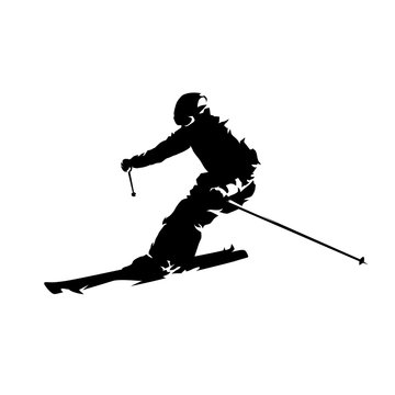 Skier, isolated vector silhouette. Downhill skiing
