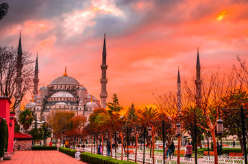 The Blue Mosque, (Sultanahmet Camii) in sunset, Istanbul, Turkey.