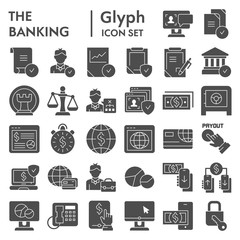 Banking glyph icon set, finance symbols collection, vector sketches, logo illustrations, commerce signs solid pictograms package isolated on white background, eps 10.