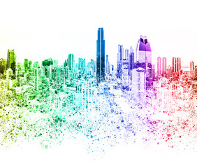 colorful city skyline illustration abstract skyscraper cityscape -