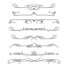 Set of calligraphic design elements- dividers,Thin line decoration objects,