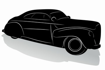 silhouette of old car, vector draw