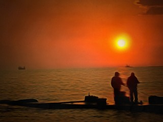 silhouette of fishermen golden age