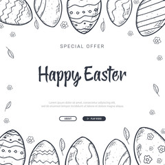 Happy Easter background with traditional sketches decorations. Easter greeting with colored eggs, rabbit.