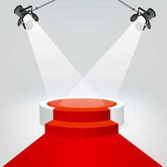 Concept de la réussite avec deux projecteurs qui illuminent un podium, pour présenter un événement médiatisé et distribuer des trophées à des célébrités.
