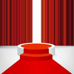 Concept de la réussite avec un podium et un tapis rouge devant un rideau de scène pour présenter un événement médiatisé et distribuer des trophées à des célébrités.