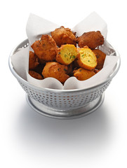 homemade hush puppies, southern food, deep fried cornbread balls