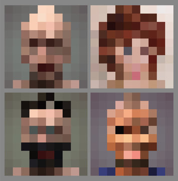 Set of anonymous pixel face