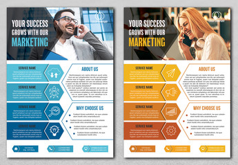 Two Business Flyer Layouts with Blue and Orange Accents