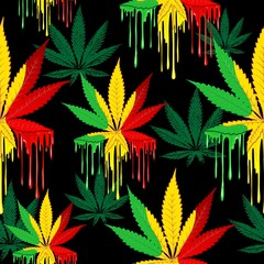 Zelfklevend Fotobehang Draw Marijuana Leaf Rasta Colors Dripping Paint Vector Seamless Pattern