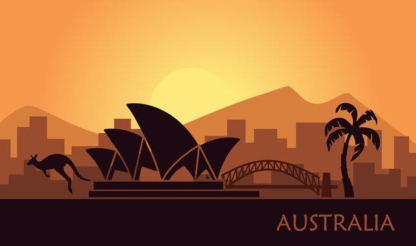 Abstract landscape of Australia at sunset. Vector illustration
