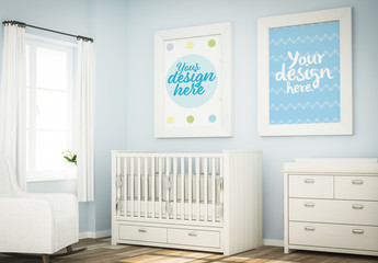 2 Posters in Blue Baby Room Mockup