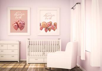 2 Posters in Pink Baby Room Mockup