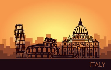 Abstract Italian cityscape with silhouettes of sights at sunset