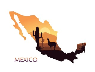 Stylized landscape of Mexico with a llama and cactuses in the form of a map of Mexico