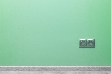 empty green wall with plinth and socket Wall mural