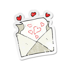 retro distressed sticker of a cartoon love letter