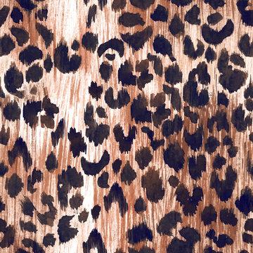 Watercolor leopard jaguar texture vector pattern