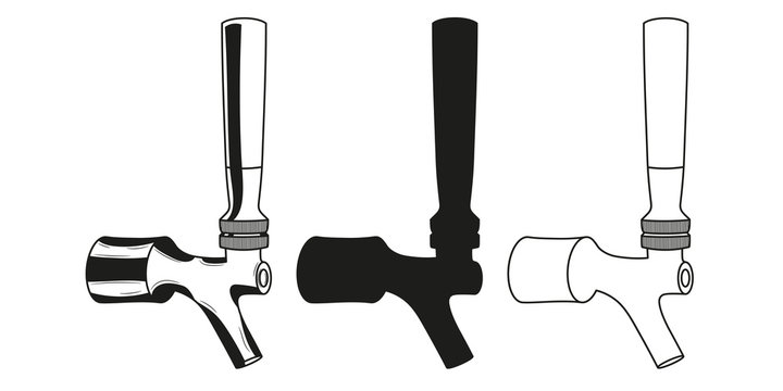 Set beer taps icon. Vector illustration.