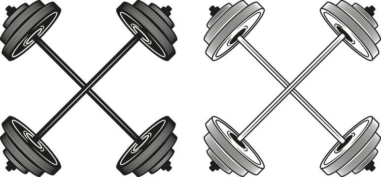 Set of crossed barbells. Vector illustration.