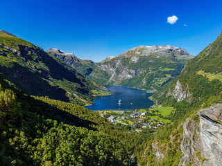 Geiranger fjord, Beautiful Nature Norway. Travel by ferry in Geiranger