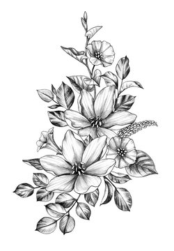 Hand drawn Bunch with Flowers and Leaves