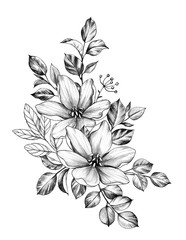 Hand drawn Bunch with Two Flowers and Leaves