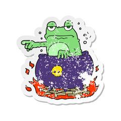 retro distressed sticker of a cartoon halloween toad