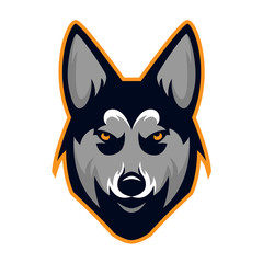 Husky Dog Head Team Mascot Logo