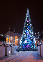 Holiday decorations of Cathedral square in Vilnius. Lithuania