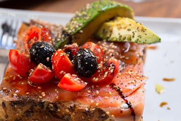 salmon and avocado toast