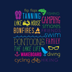 Summer Vacation Lake Life Words Collage Camping Smores Family Diving Wakeboard Lake House Bonfire Fishing Flip Flops Background T-Shirt Apparel Vector Design