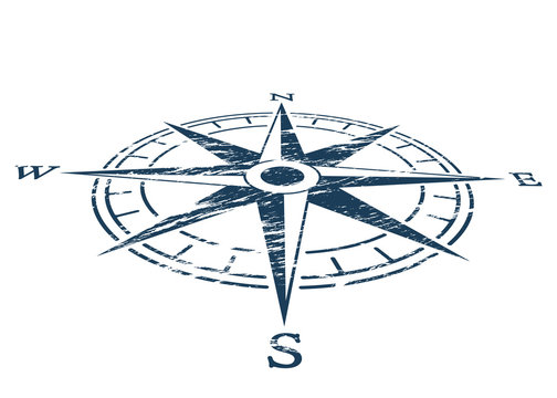 Compass wind rose in vintage style. flat icon. vector illustration isolated