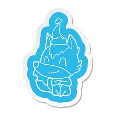 friendly cartoon  sticker of a wolf wearing santa hat