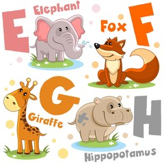 A set of letters with pictures of animals, words from the English alphabet. For the education of children. Animal characters are elephant, fox, giraffe, hippopotamus, hippo.