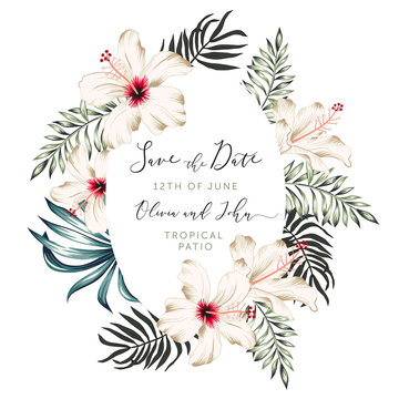 Wedding tropical frame Save the date. Palm leaves, white hibiscus flowers oval wreath. Vector illustration. Floral arrangement. Design template greeting card. Invitation background. Summer beach