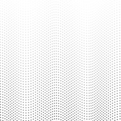 Halftone pattern. Gray spots on a white background. Dotted squiggle lines. Monochrome op art design. Vector airy waves. Abstract digital graphic. Tech concept. EPS10 illustration