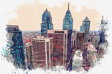 Watercolor sketch or illustration of a beautiful view of the Philadelphia with urban skyscrapers
