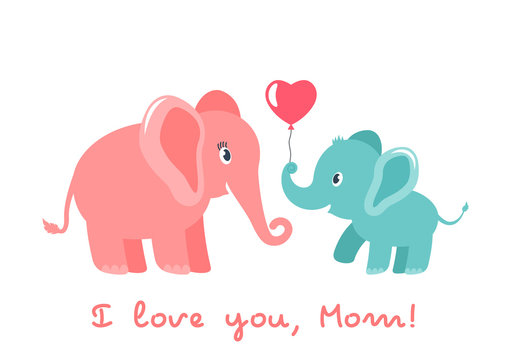 Cute funny baby elephant gives mother a heart. greeting card. Mother's Day holiday concept. flat vector illustration isolated
