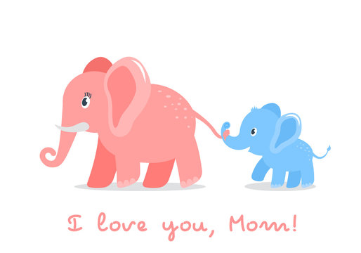 Funny character elephant son holds the tail of his mom. concept of love for parents and mother's day. flat vector illustration isolated
