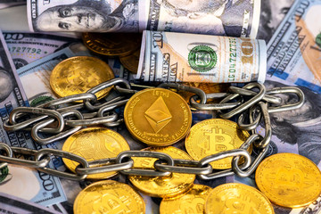 Cryptocurrency Ethereum (ETH) ,bitcoin and US dollars on table close up.business concept.