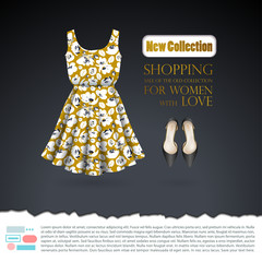 Background with mustard floral summer dress and black shoes on dark gray fond. Advertising template for women's day, promotions and discounts, sales in stores and shopping centers, online stores.