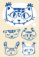 Lynx cat kawaii face children linart isolated vector