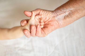 hands of young great-grandson and old great-grandmother. Happy Family concept. Beautiful conceptual image of Maternity. selective focus