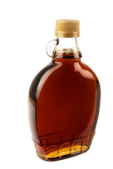 Decorative traditional maple syrup bottle from Canada. Isolated on white background.