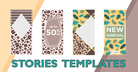 Trendy editable story template with leopard print, top colors 2019, Instagram stories template for blog, website, mobile app, poster, flyer, coupon. Vector illustration. Spring sales