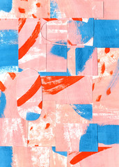 Mosaic Abstract Art Background with Pink Colour and Contrast Red and Blue